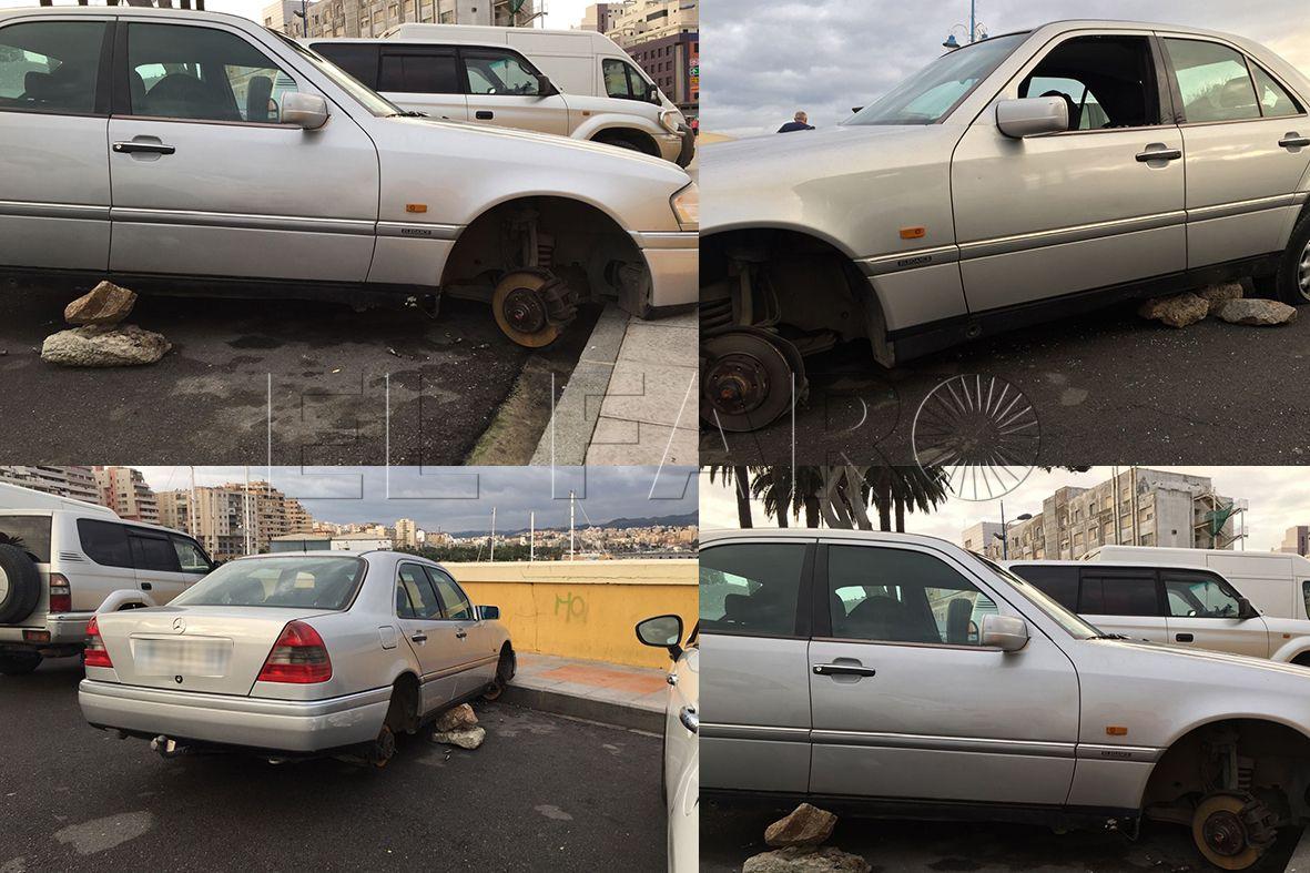 Le quitan las cuatro ruedas a un vehículo estacionado en la Marina