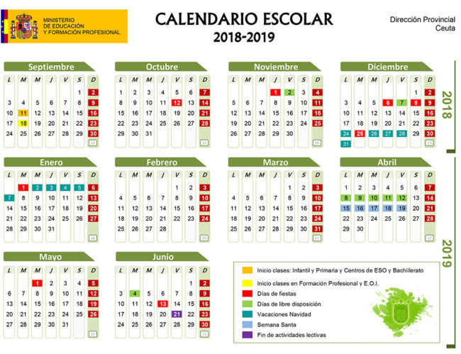 Calendario Escolar 1819.Calendario Escolar Ceuta 2018 2019 Fechas De Festivos En El Curso